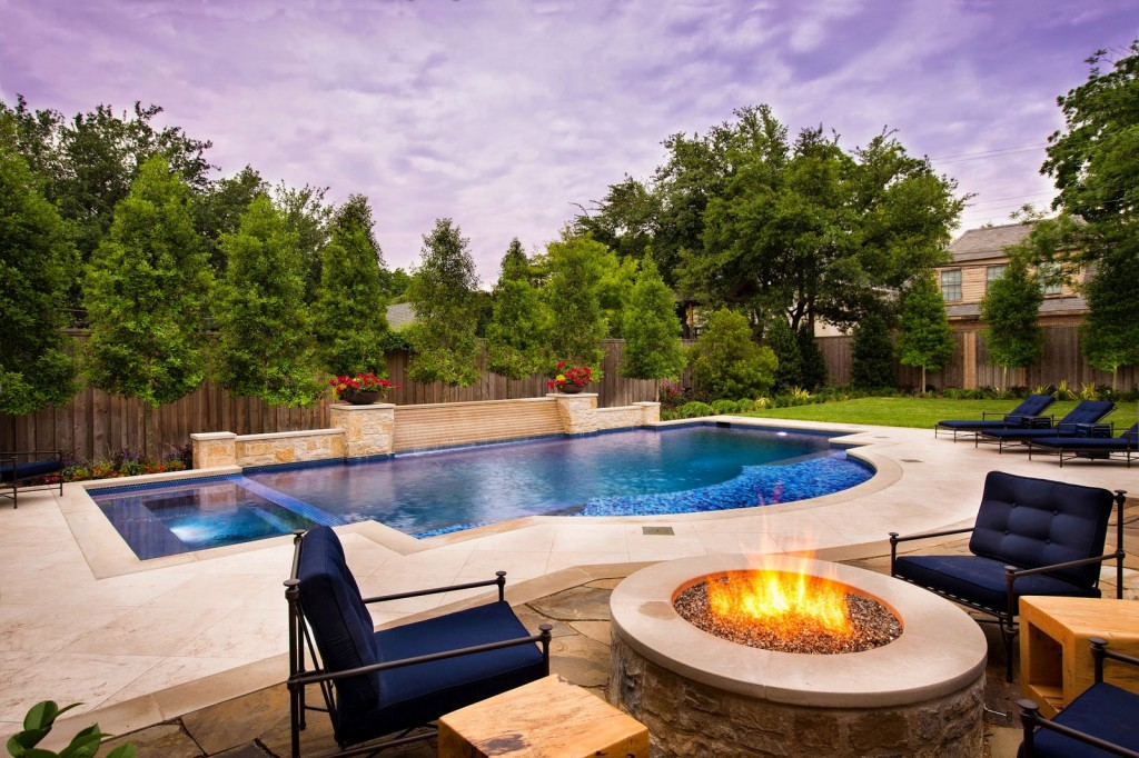 9 spectacular pictures of pools with a fire pit outdoor for Pool design inc