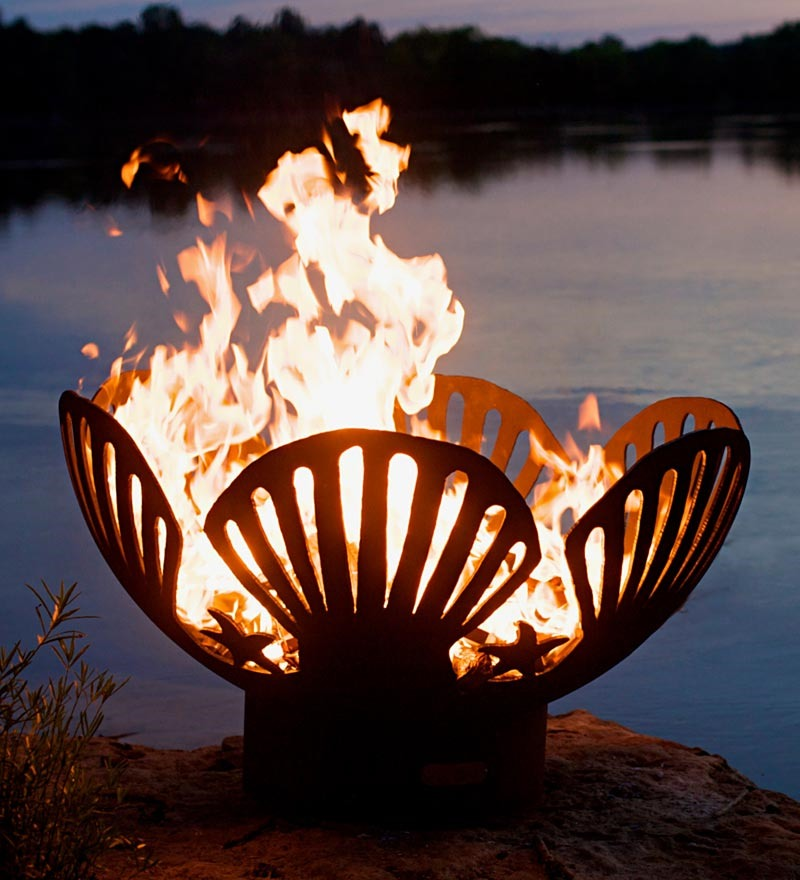 sea shells and star fish fire pit