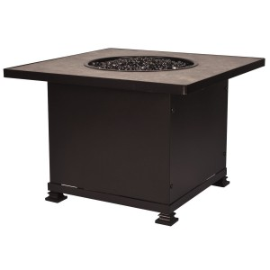"""60,000 BTUs OW Lee Santorini Iron Fire Pit 36"""" Square Chat Height"""