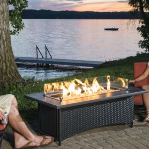 65,000 BTU Outdoor Great Room Montego Crystal Fire Pit Coffee Table-High BTU fire pit