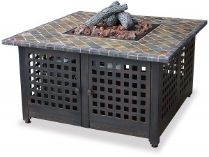 Uniflame propane fire pit table with slate and marble tile top