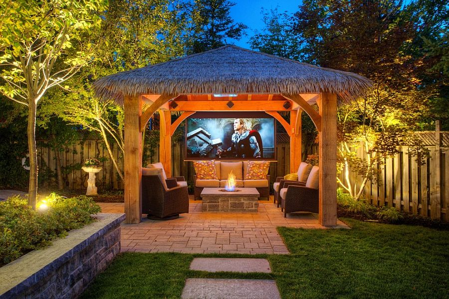 Fire pit under gazebo or pergola