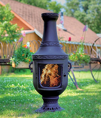 The Blue Rooster Co. Venetian Style Cast Iron Wood Burning Chiminea in Charcoal.